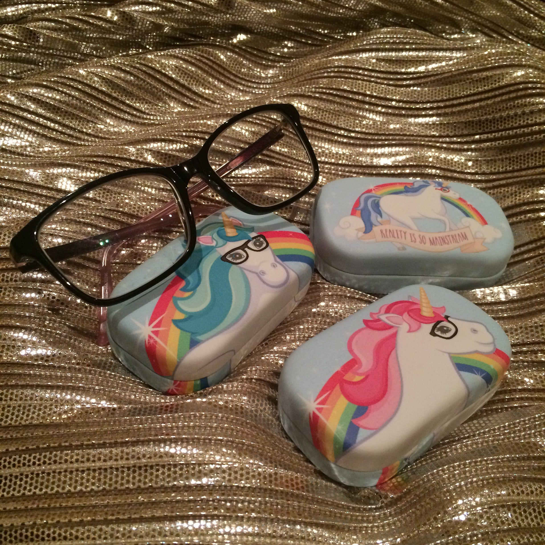 Enchanted rainbows unicorn contact lens case contact
