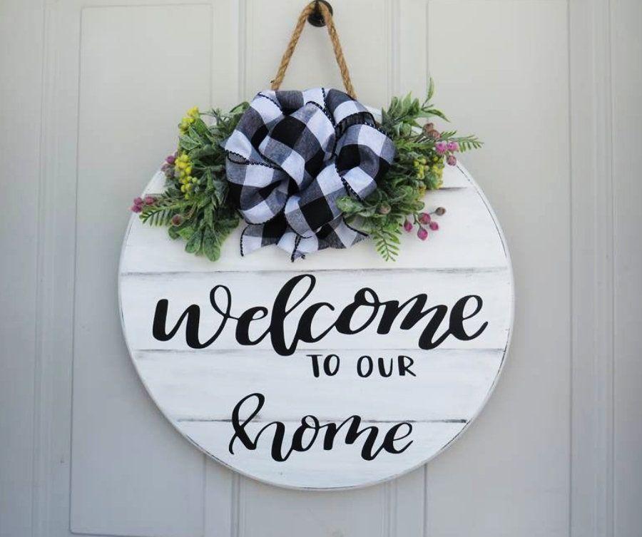 Welcome To Our Home Welcome Sign Front Door Decor Farmhouse Door Hanger Welcome Wreath Farmhouse Welcome Guirlandas Home