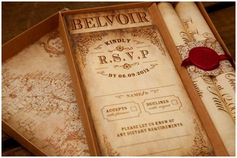 Our Montecristo Scroll Wedding Invitation Complete With Monogram Wax Seal Vintage Map