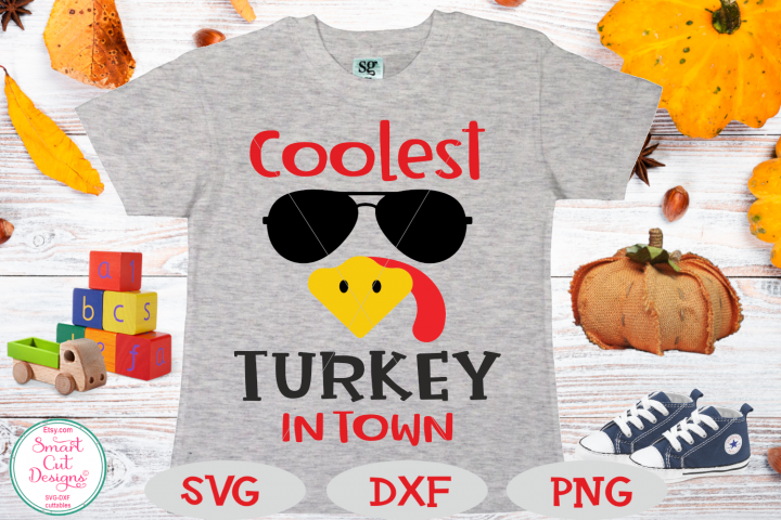 Thanksgiving Boy SVG, Coolest Turkey In Town, Turkey Face