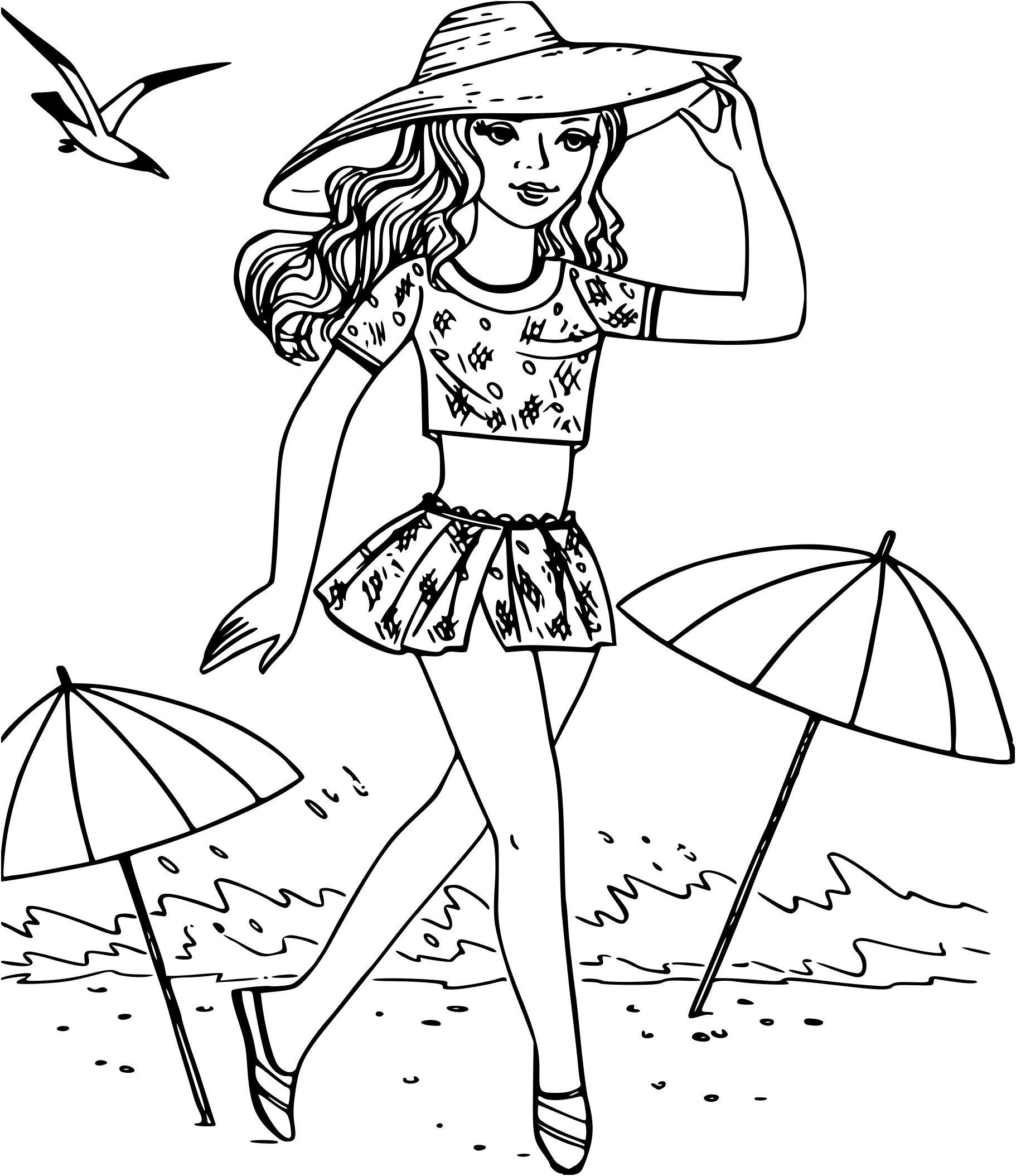 17 Aimable Jeux De Coloriage De Fille Pictures   Barbie coloring pages, Beach coloring pages ...