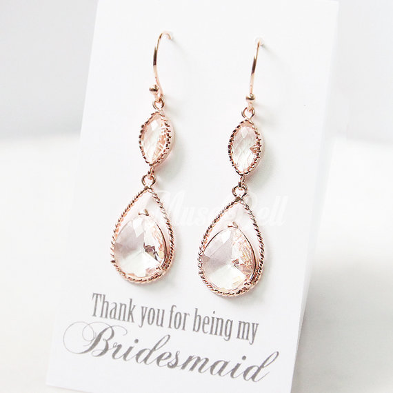 Rose Gold Peach Champagne Earrings Wedding Bridal Jewelry Party Bridesmaid Gift For Her