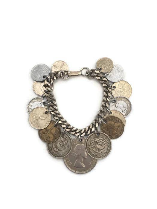 Vintage Silver Tone Charm Bracelet Coin Charms Boho