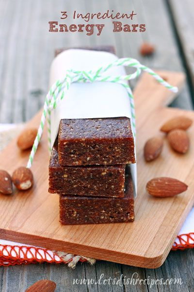 3 Ingredient No-Bake Energy Bars | You can whip them up in just a few minutes in your food processor, and they can be stored in the refrigerator for several weeks and the freezer for up to 3 months!