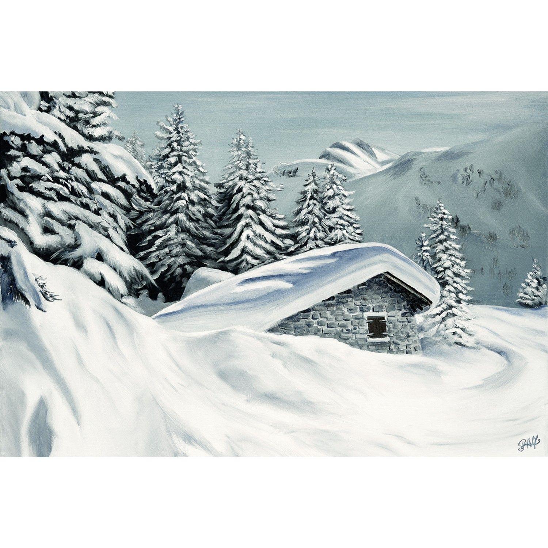 Toile Sur Chassis Chalet Perdu Sous La Neige Lecoinmontagne Com Peintures De Montagne Dessin Montagne Neige