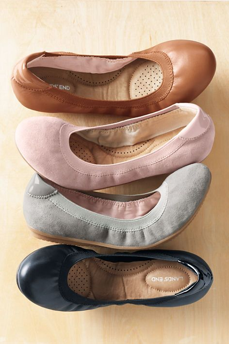Womens Comfort Elastic Ballet Flats from Lands' End