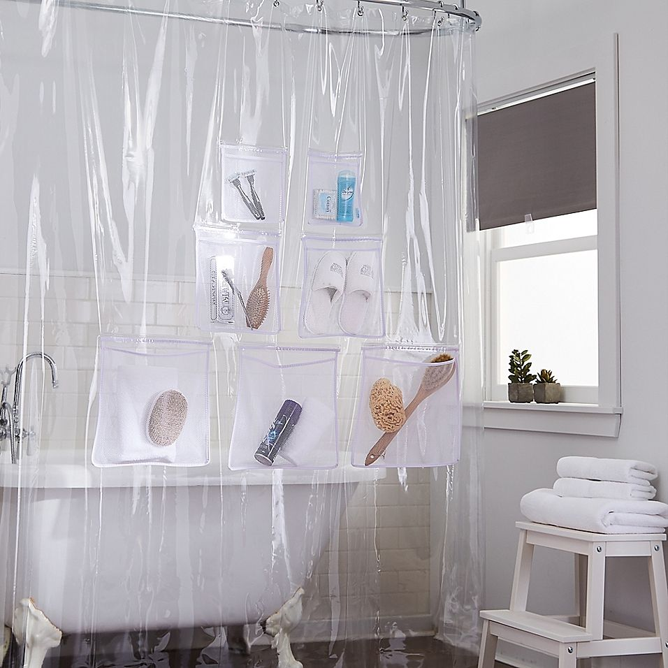 Stuffits Vinyl Shower Curtain With Mesh Pockets In Clear Vinyl