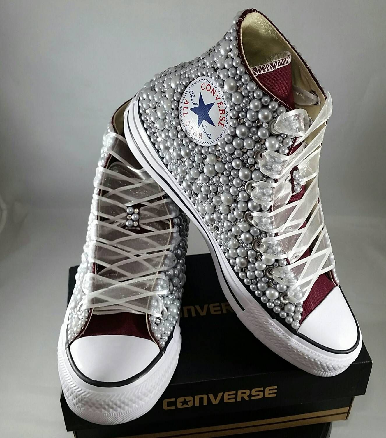 f69984198be2 Bridal Converse- Wedding Converse- Bling   Pearls Custom Converse Sneakers- Personalized  Chuck Taylors- All Star Converse Sneakers- Bride by DivineUnlimited ...
