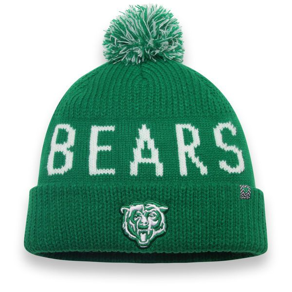 Chicago Bears NFL Pro Line by Fanatics Branded St. Patrick s Day Cuffed  Knit Hat with Pom - Kelly Green 9d1462d6b