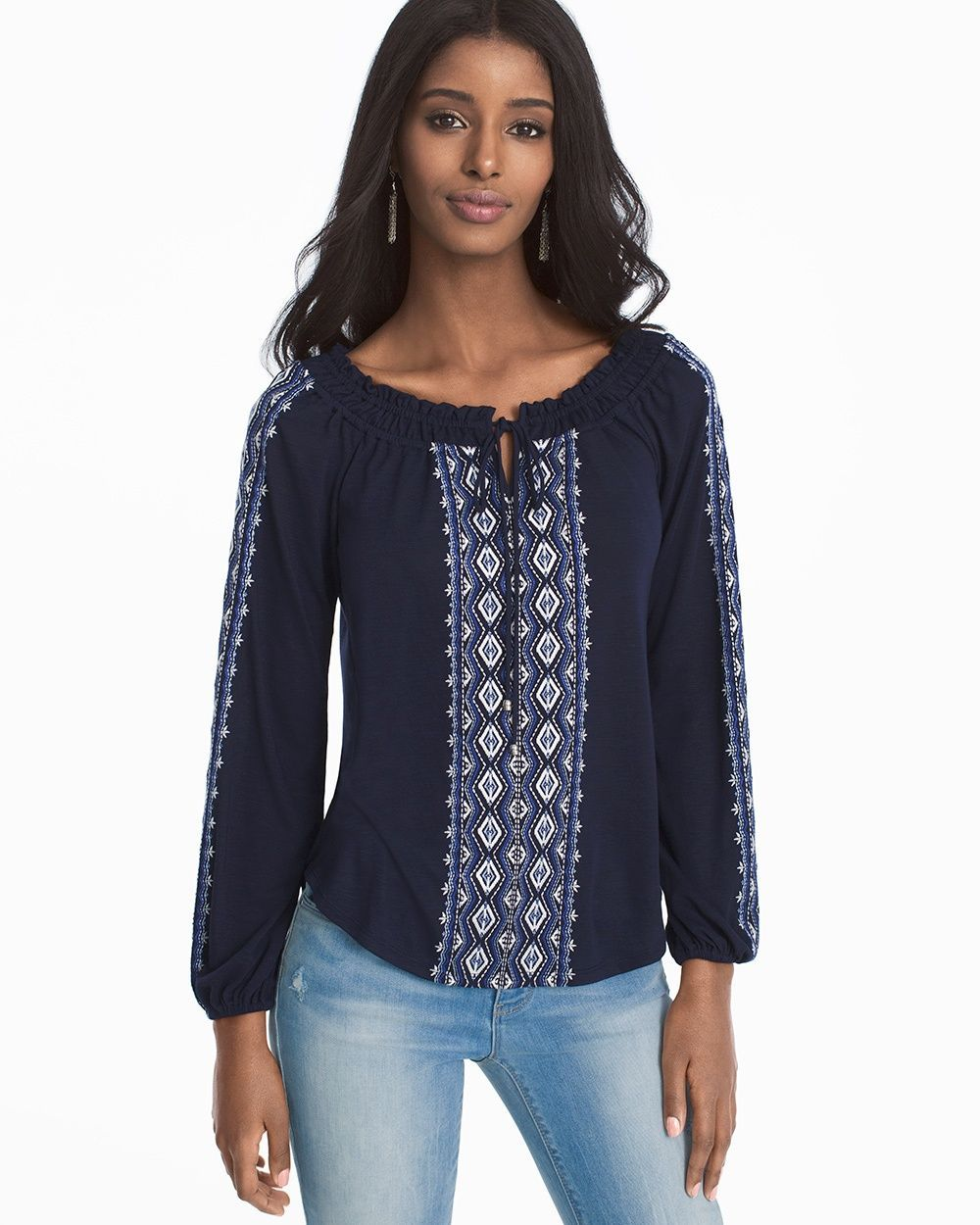 964ad708 Women's Long-Sleeve Embroidered Tie-Front Top by White House Black Market