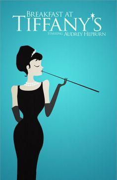 Minimalist Movie Posters, Tiffany Blue, Posters Design, Racquet, Breakfast At Tiffanys, Audrey Hepburn, Tiffany'S, Holly Golightly, Minimal Movie Posters