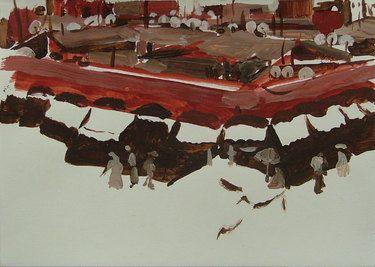 """Djemaa el Fna # 1,"" original abstract painting by artist  Alice Brasser (Netherlands) available at Saatchi Art #SaatchiArt"