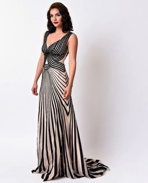 Striped Art Deco Evening Gown Art Deco Dress Deco Dress Art Deco Gown