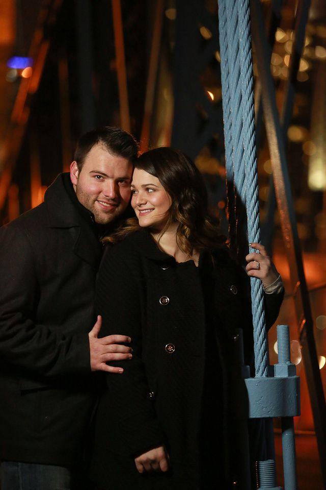 Look of Love on the Roebling Suspension Bridge. #Cincinnati #engagement #weddingstyle