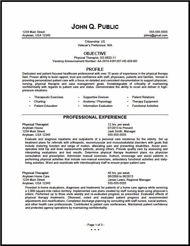 Inspiring Physical Therapy Resume Template Ideas Federal Physical Therapist Resume Therapist Resume Physical In 2020 Resume Examples Federal Resume Job Resume Examples