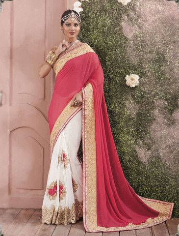 7cdd163fd9f Pink Off White Party Wear Indian Sarees Online