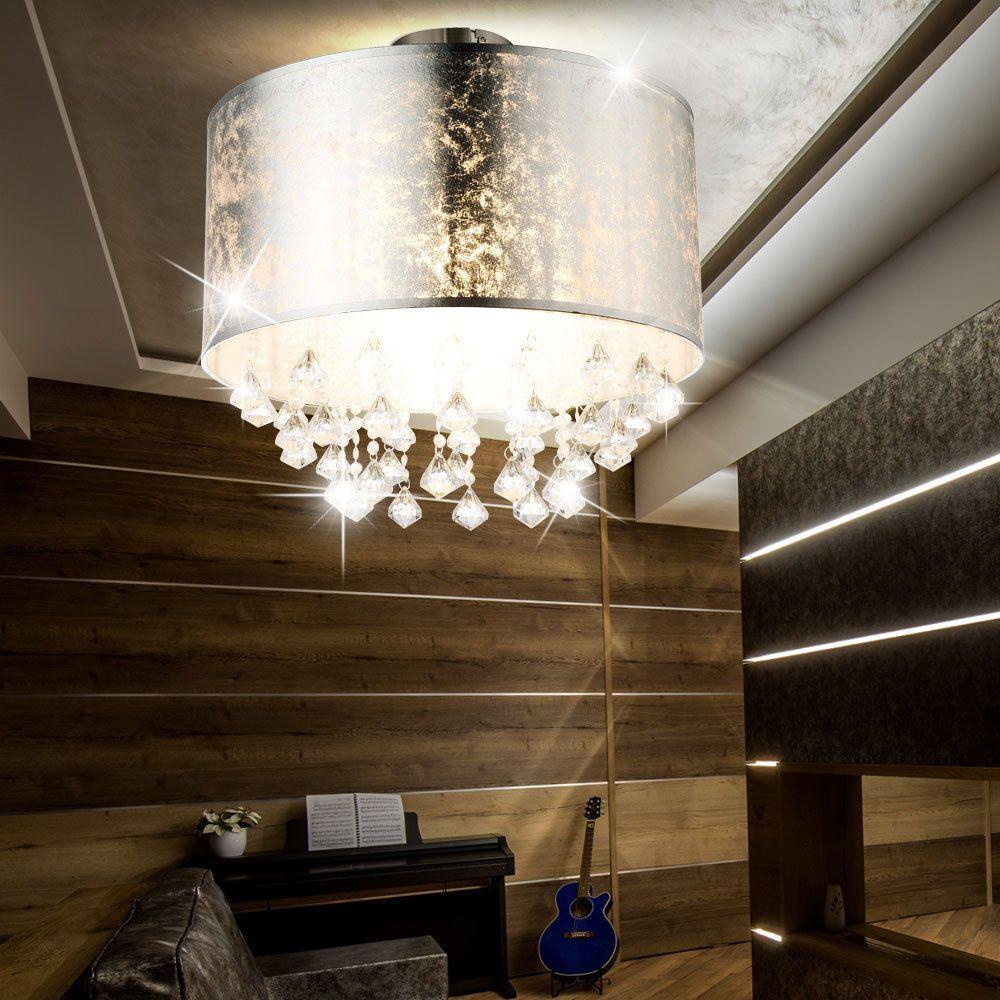 Details Zu Design Decken Lampe Stoff Blattsilber Wohn Schlaf Zimmer Leuchte Kristall Behang Beleuchtung Decke Kristalle