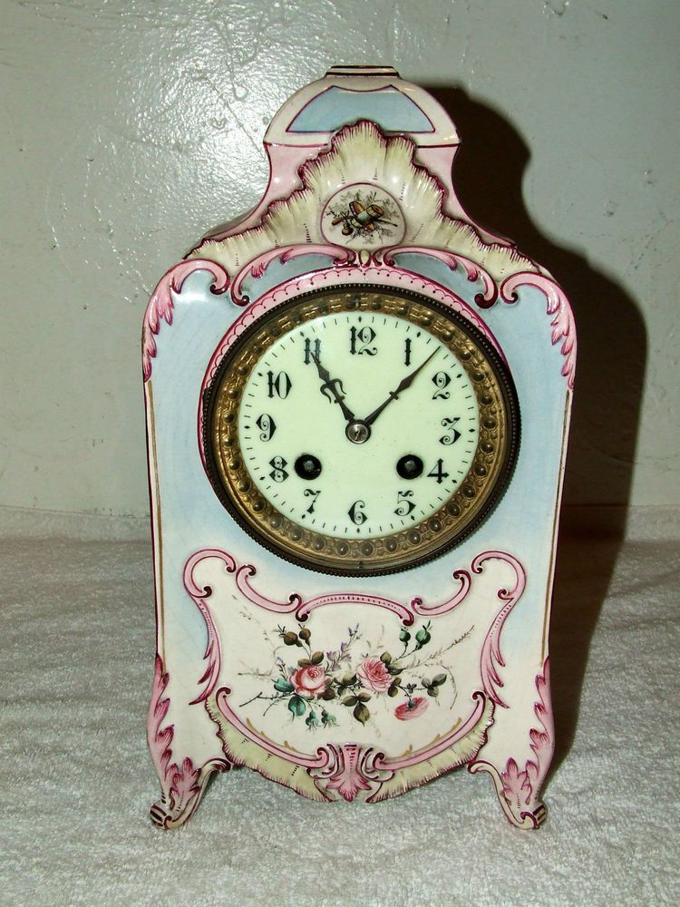 Antique MARTI 19th C.French Victorian Porcelain Ceramic Mantel Clock 1860 FRANCE