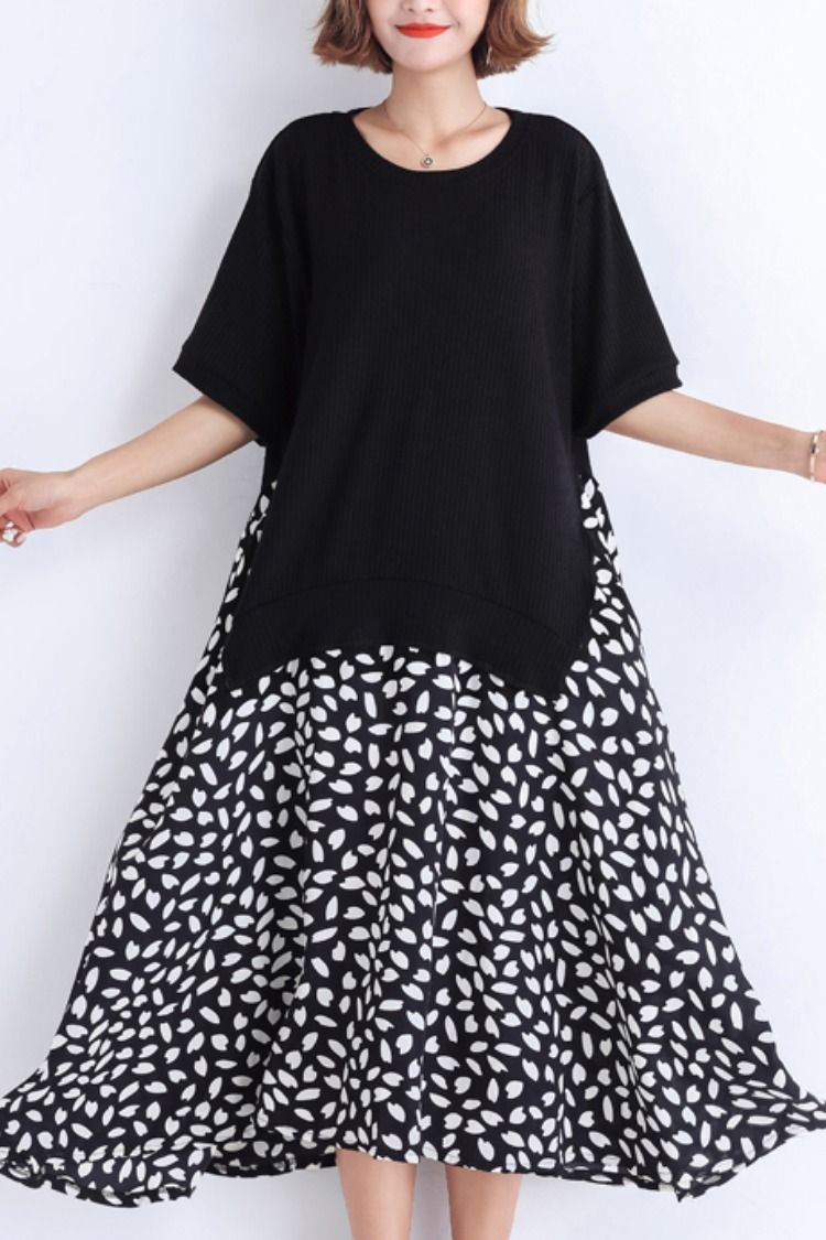 8a56b7250 Women black Cotton tunic dress Casual pattern patchwork false two pieces  oversized Summer Dresses#blackdress#cottondress#patchworkdress