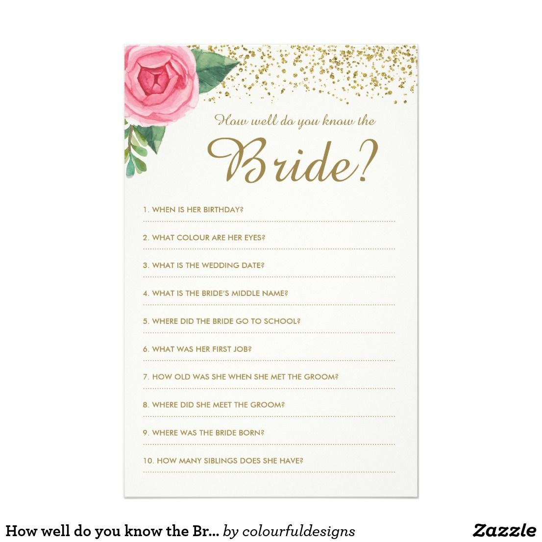 How well do you know the Bride Game   { Wedding Invitations , Favors ...