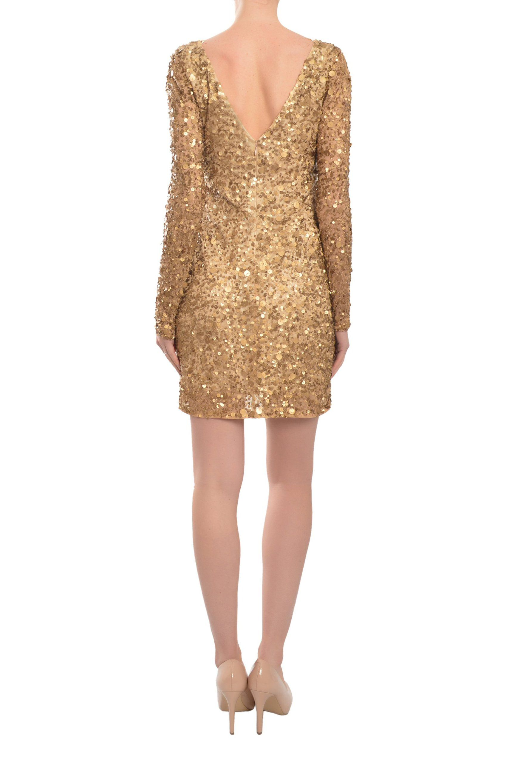 Aidan mattox stunning sequin long sleeve cocktail evening dress