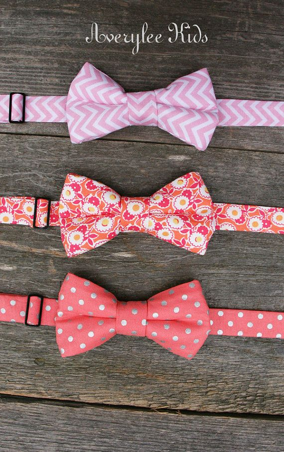 Boys Bow Ties in Coral and Pink Wedding Ring by AveryleeKids ...