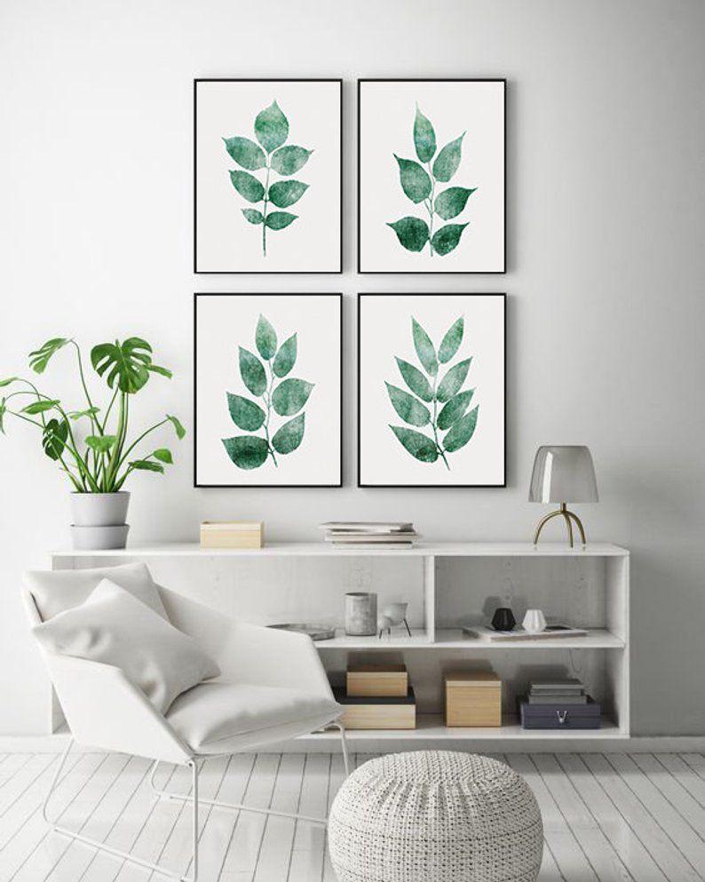 Set Of 4 Wall Art Living Room Wall Art Printable Leaf Wall Etsy