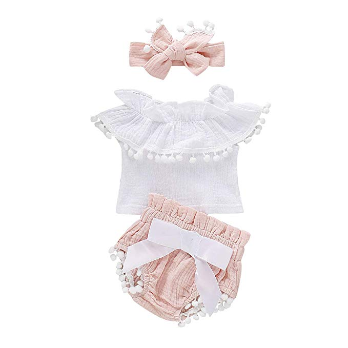 Infant Baby Girls Ruffle Sleeveless Romper Tops Shorts with Headband Cotton Outfits Summer Short Sets