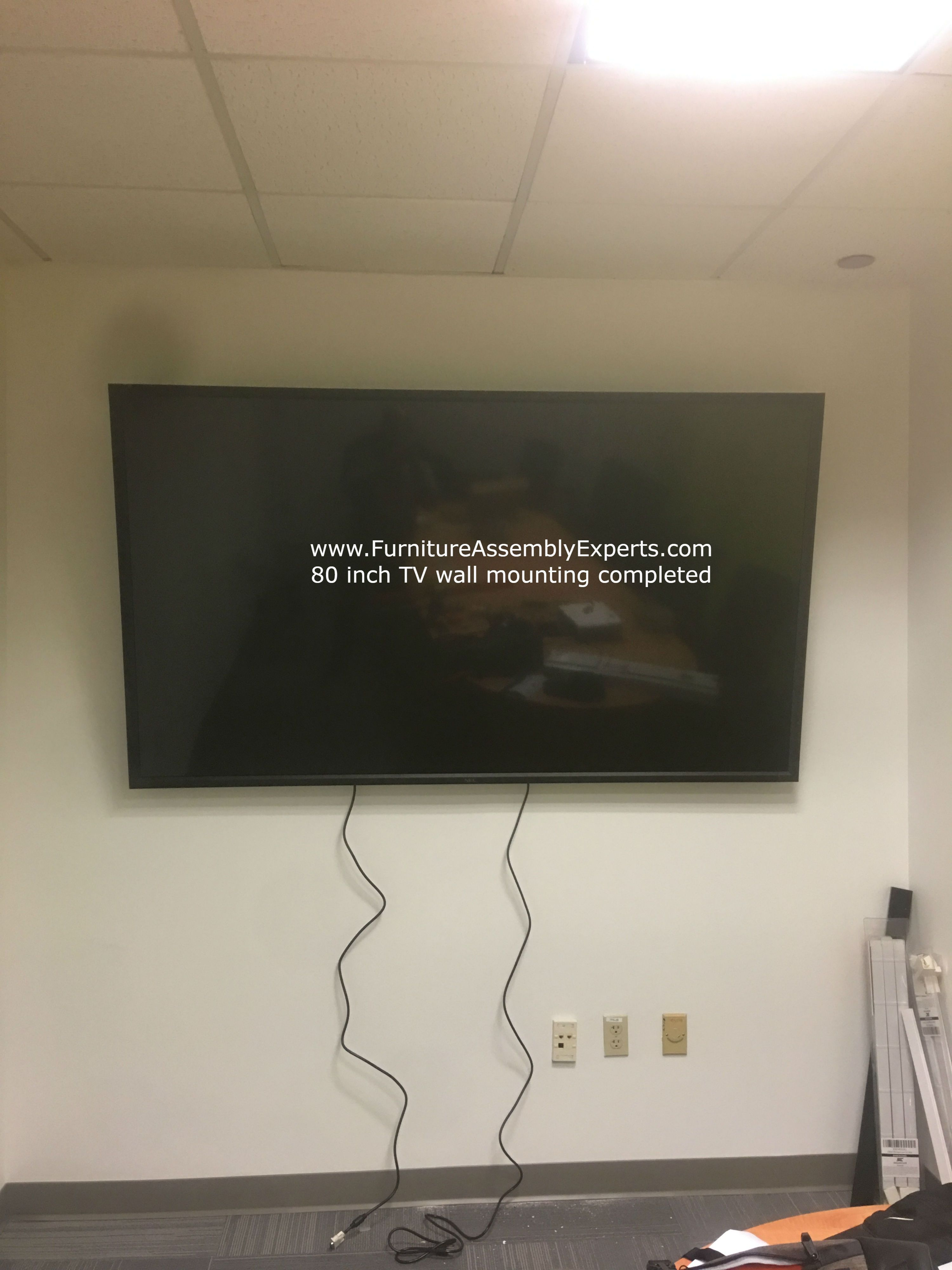 80 Inch Tv Wall Installation Completed For A Customer In Fort Meade Military Base Maryland By Professionals From F Tv Wall Installation Tv Wall Wall Mounted Tv