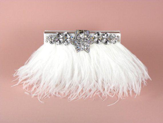 Stunning white satin ostrich feather clutch!!