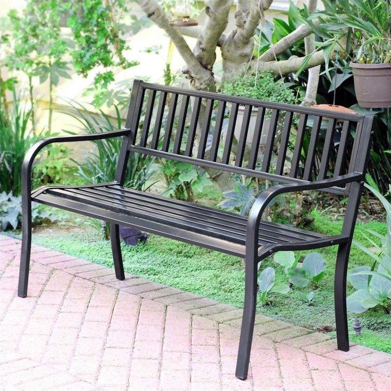 Jeco 50 L Strap Curved Back Steel Park Bench In Black Park Bench Outdoor Bench Outdoor