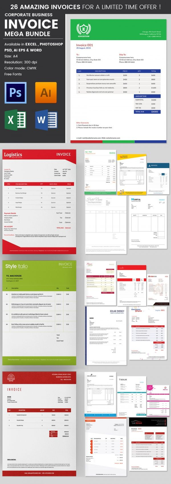 Travel Invoice Templates Free Word Excel Pdf Format Business