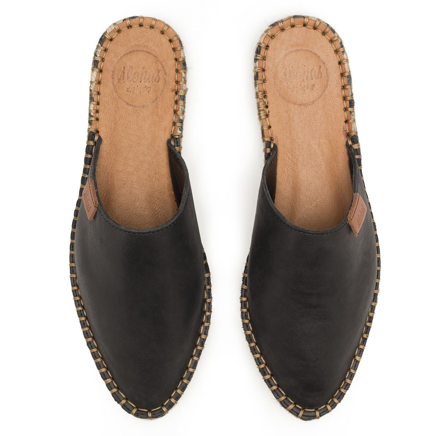 Babucha Black Espadrilles Flat Leather