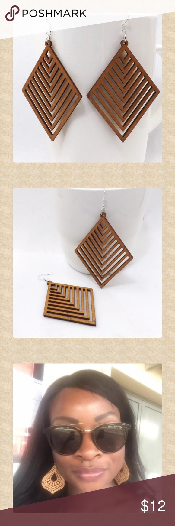 Wood, Cut-out, Geometric, Dangle Earrings! Lovely cut-out, wooden, dangle earrings with lovely geometric design! Great for fall with a chunky sweater!  Exact measurements will be posted soon!  Last photo shown to illustrate size (which is very similar).  boho, global, geometric, chevron, diamond, trendy, statement, natural,  casual, summer, spring, summer, fall, 2018, 2018 Jewelry Earrings