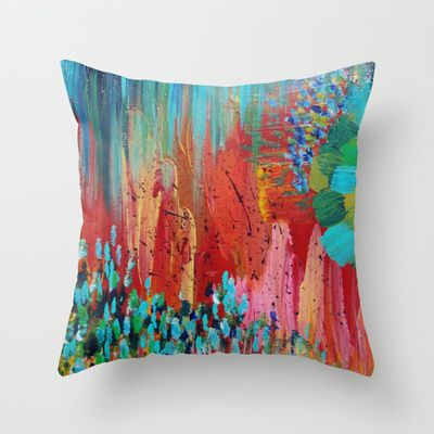 26 x 26 Square Floor Pillow Kess InHouse Oriana Cordero Coral White Red