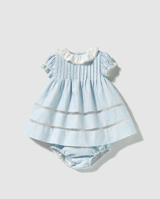 Vestido de bebé niña Dulces en azul con flores  42235b62247c