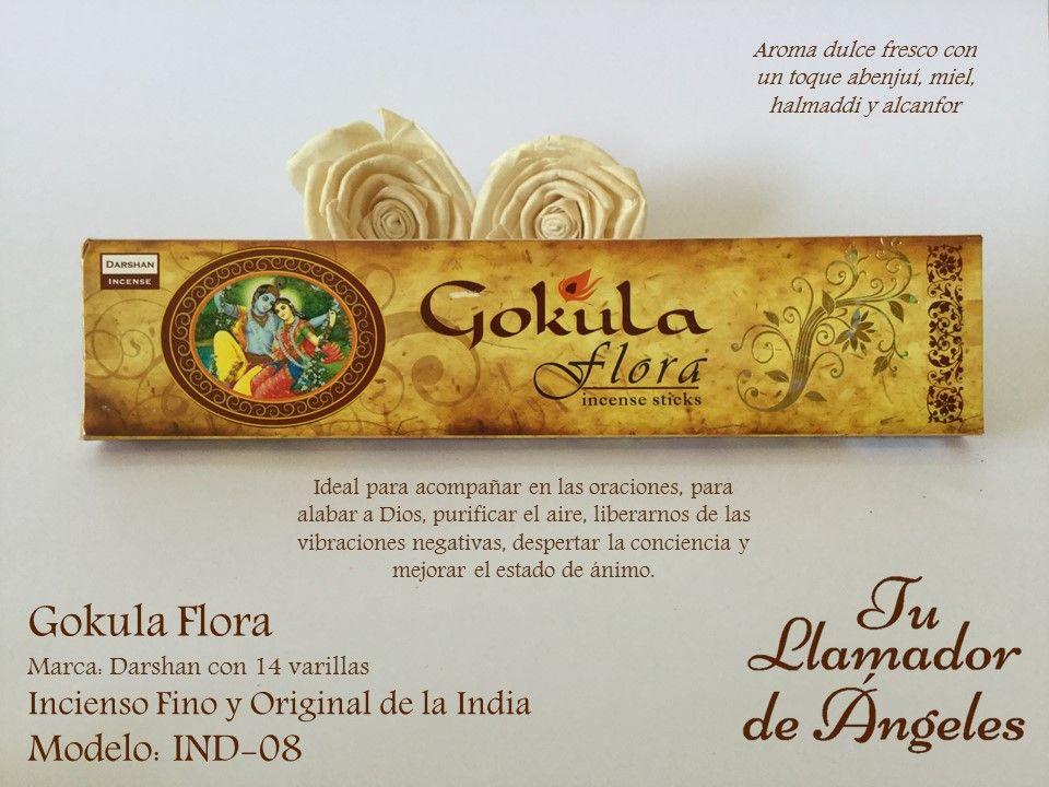 Gokula Flora - Aroma dulce fresco con un toque abenjuí, miel, halmaddi y alcanfor. Ideal para acompañar en las oraciones, para alabar a Dios, purificar el aire, liberarnos de las vibraciones negativas, despertar la conciencia y mejorar el estado de ánimo.