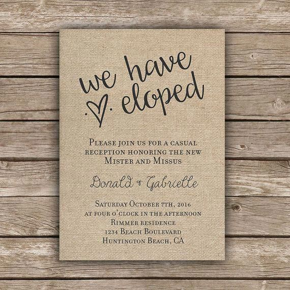 Printable elopement reception invitation by