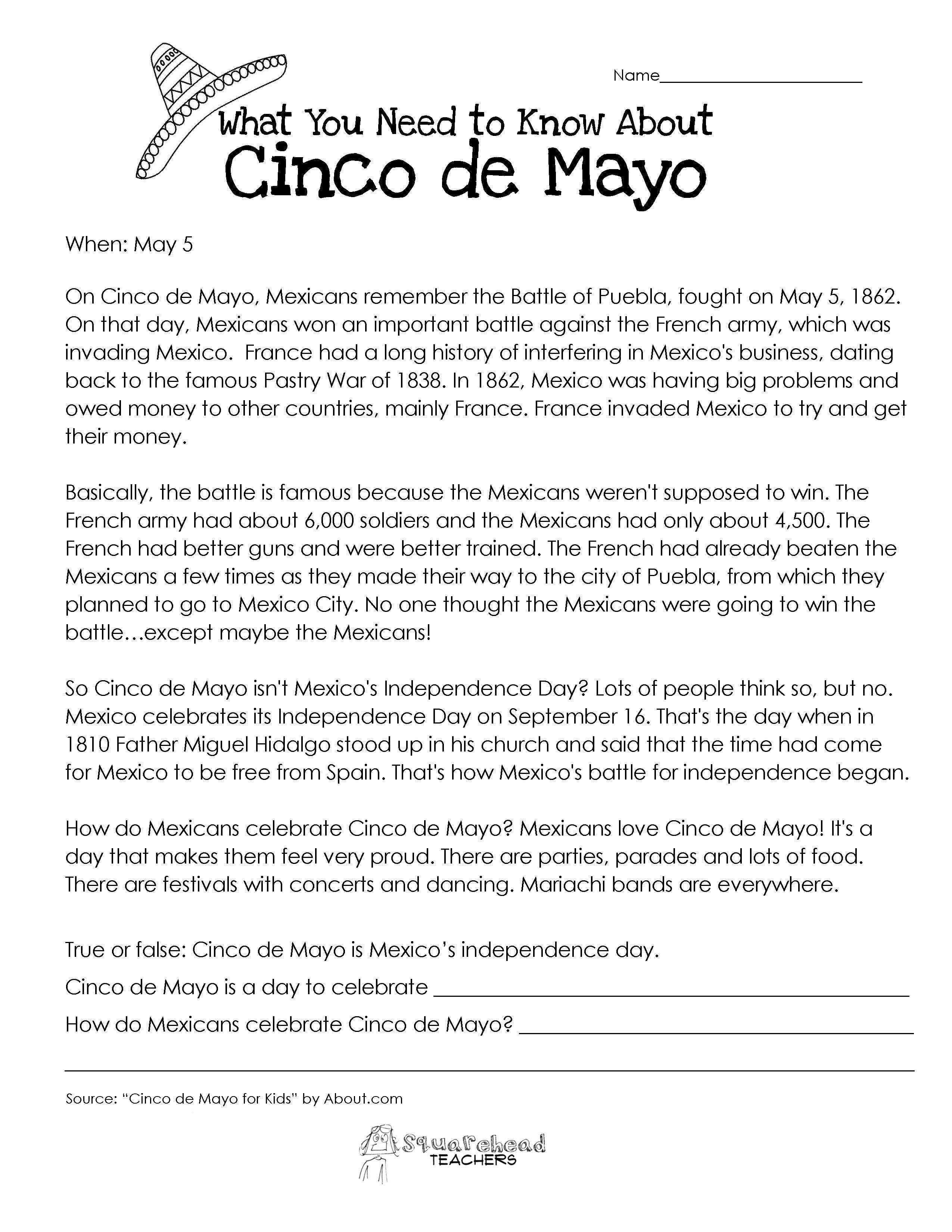 Image Result For Mexican Independence Day Worksheet For