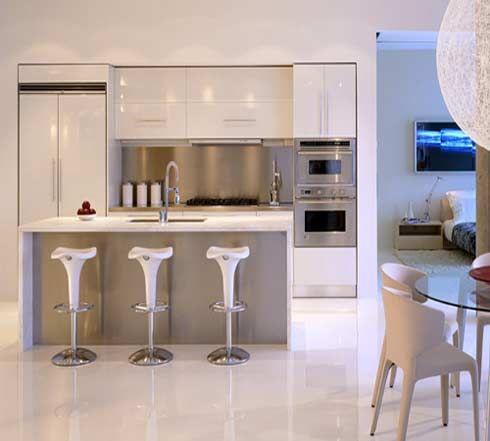 Small Modern White Kitchen beyond stainless steel: white kitchen appliances | white grey
