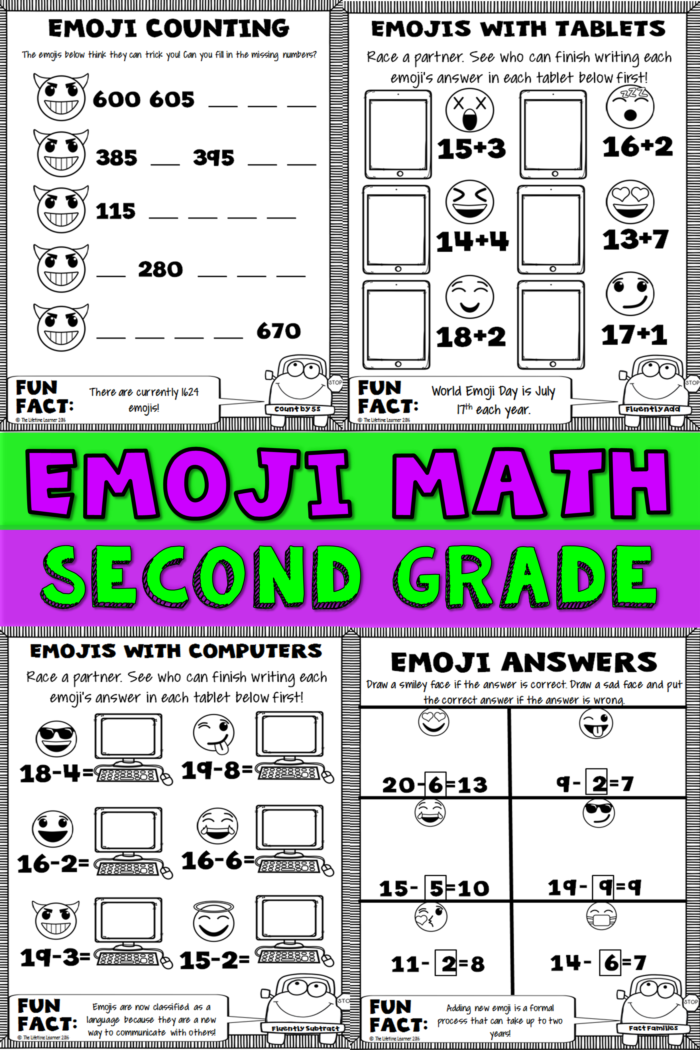 Second grade math is more fun with emojis! This emoji math packet is filed  with 20 emoji math worksheets. These works…   Math packets [ 3684 x 2456 Pixel ]