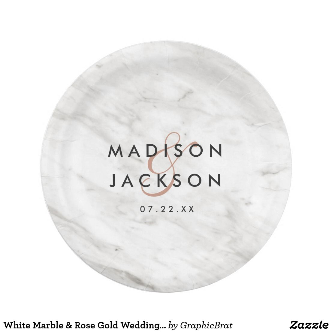 White Marble u0026 Rose Gold Wedding Reception Party Paper Plate  sc 1 st  Pinterest & White Marble u0026 Rose Gold Wedding Reception Party Paper Plate ...