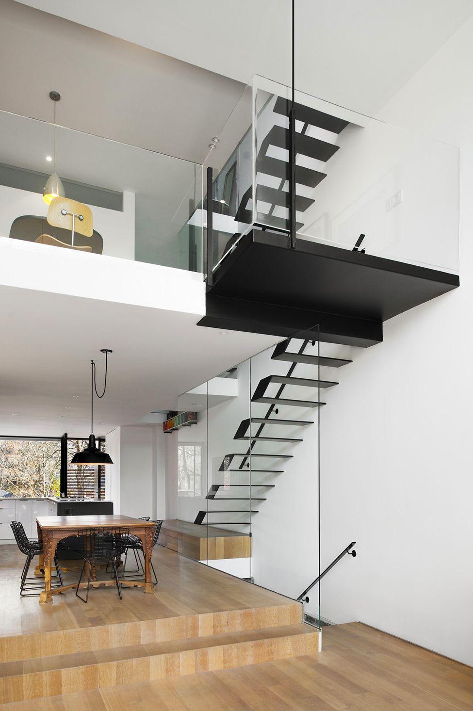Planos de casa angosta y larga favoritas escaleras - Diseno de escaleras interiores ...