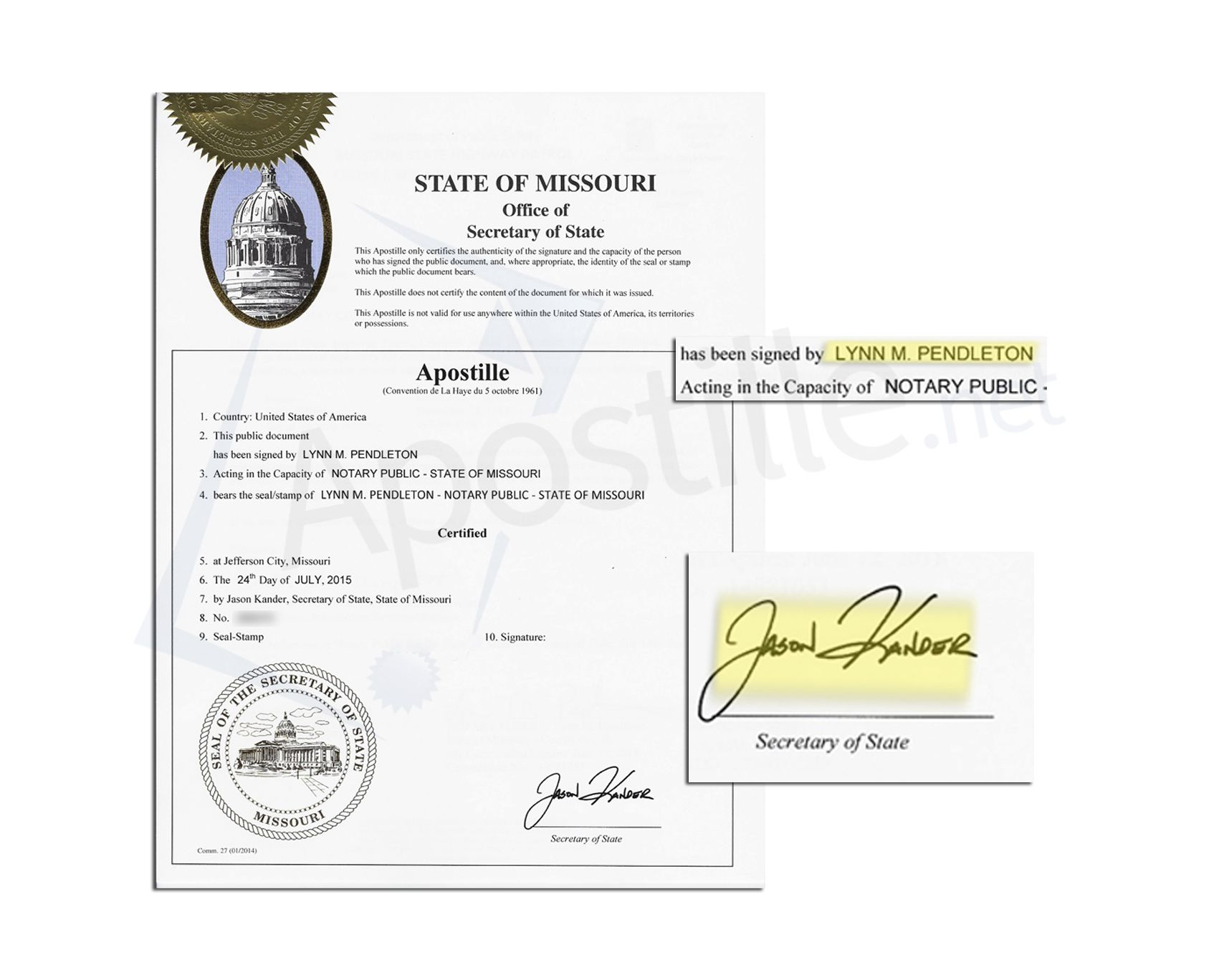 Apostille Issued By Jason Kander State Of Missouri Secretary Of State Of A  Document Signed By