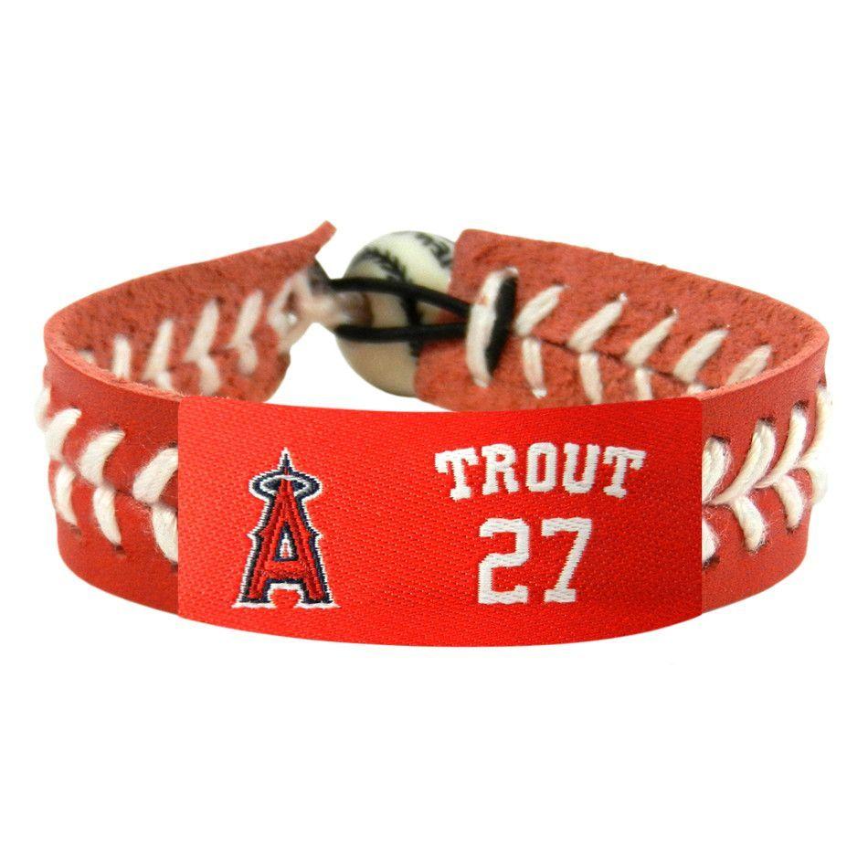 Los Angeles Angels Mike Trout Team Color Leather Bracelet
