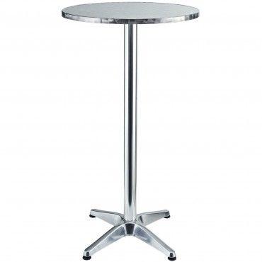 Silver Modern Elevate Aluminum Bar Table Patio Office Patio