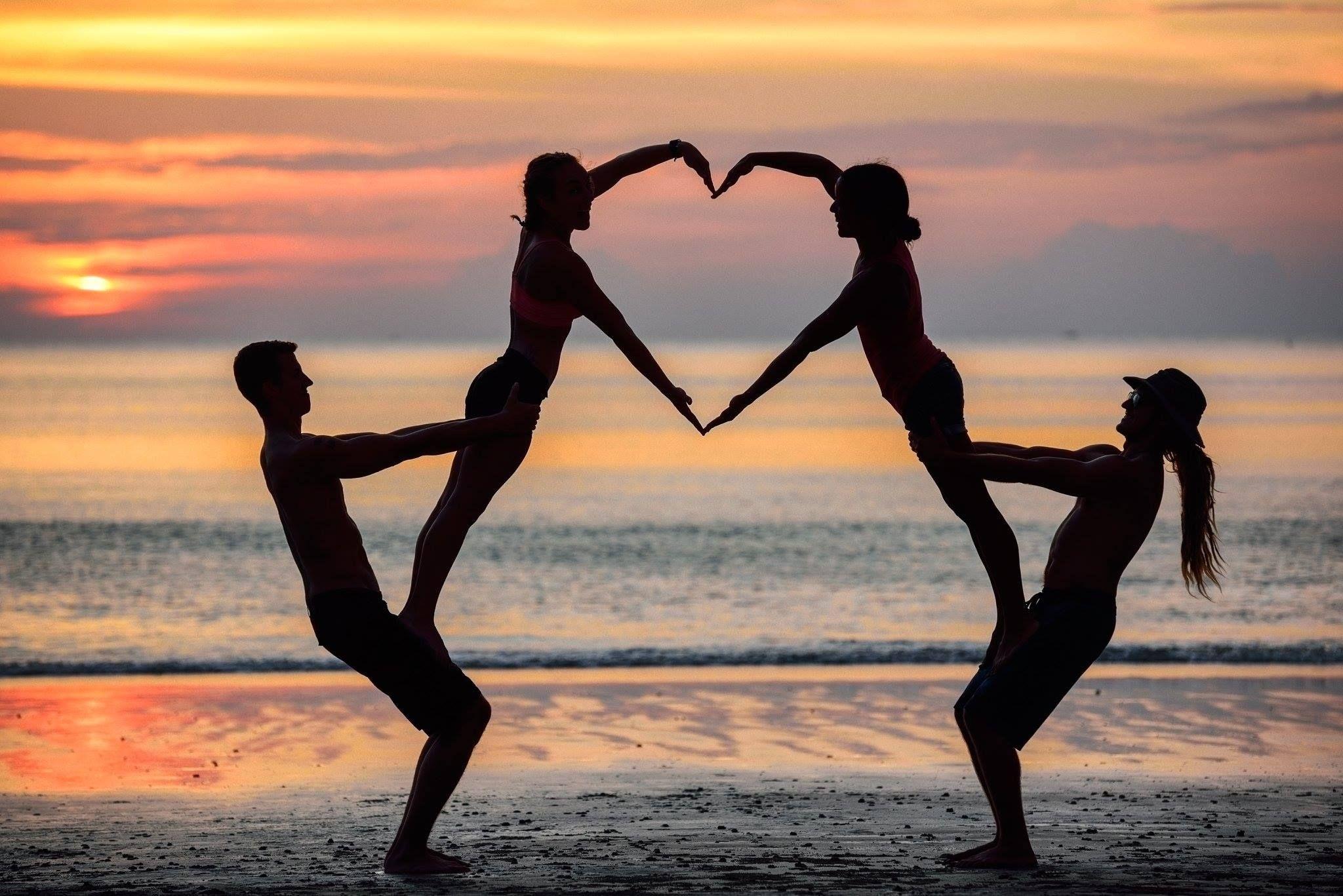 Brent, Alisha, Raquel, & Sam. Yogaslackers' Valentine #divorce