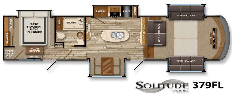 Front living room luxury fifth wheel floor plans yahoo - 2016 luxury front living room 5th wheel ...