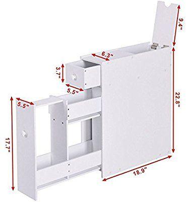 Amazon Com Narrow Wood Floor Bathroom Storage Cabinet Holder Organizer Bath Toilet Kitchen D Nebolshie Vannye Komnaty Dizajn Doma Mebel Dlya Vannoj Komnaty