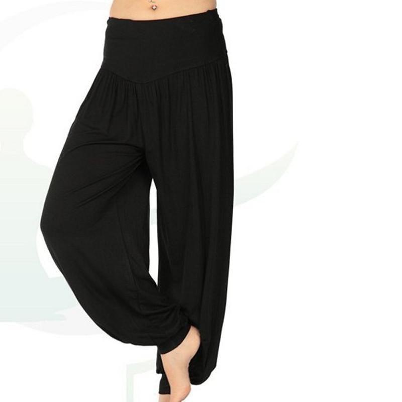 Ladies Pants Trousers Fitness High Waist Pants Dance Trousers Ankle-Length Harem